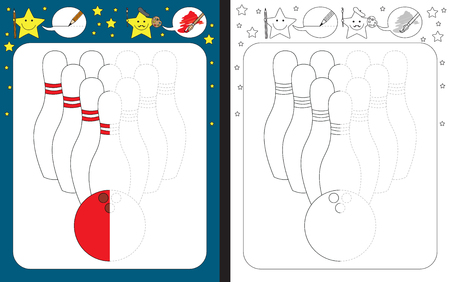 Preschool worksheet for practicing fine motor skills - tracing dashed lines - finish the illustration of bowling ball and pins. Illusztráció