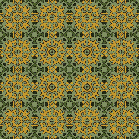 Seamless illustrated pattern made of abstract elements in yelow and shades of green