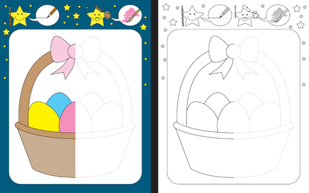 Preschool worksheet for practicing fine motor skills - tracing dashed lines - finish the illustration of Easter basket