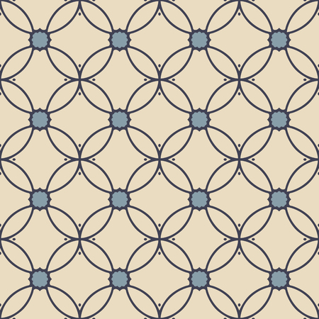 Seamless illustrated pattern made of abstract elements in beige and shades of blue