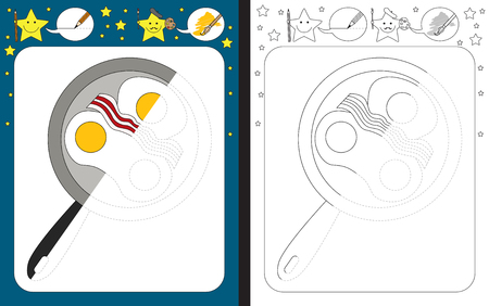 Preschool worksheet for practicing fine motor skills tracing dashed lines finish the illustration of pan with eggs and bacon