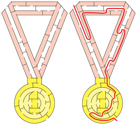 Easy gold medal maze for younger kids with a solution