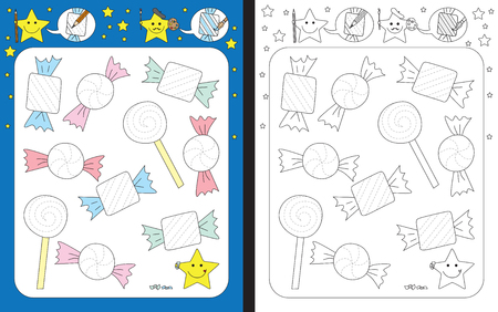 Preschool worksheet for practicing fine motor skills - tracing dashed lines of candy wrappers  イラスト・ベクター素材