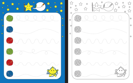 Preschool worksheet for practicing fine motor skills - tracing dashed lines of wool threads Çizim
