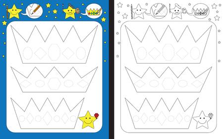 Preschool worksheet for practicing fine motor skills - tracing dashed lines of gems on crowns Illusztráció