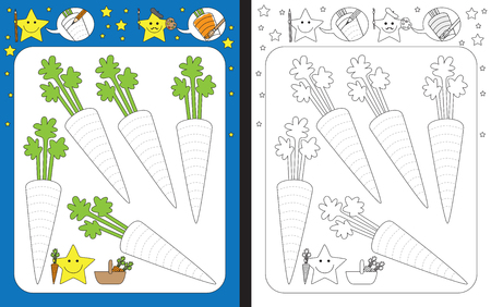 Preschool worksheet for practicing fine motor skills - tracing dashed lines of carrots