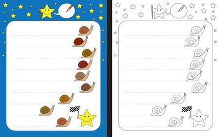 Preschool worksheet for practicing fine motor skills - tracing dashed lines of snail trails Illusztráció