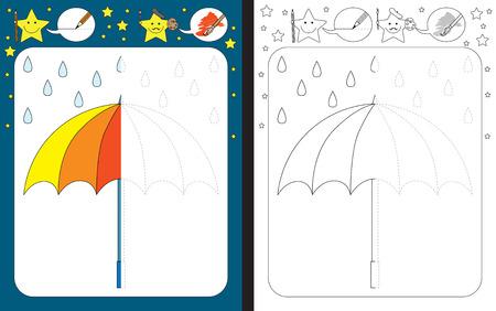 Planilha pré-escolar para praticar habilidades motoras finas - traçando linhas tracejadas - termine a ilustração de um guarda-chuva.