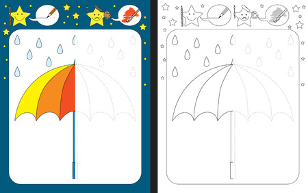 Preschool worksheet for practicing fine motor skills - tracing dashed lines - finish the illustration of an umbrella.