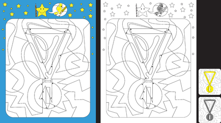 Worksheet for practicing fine motor skills - color only fields with dot - finish the illustration of a gold medal.