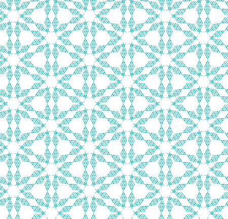 Seamless illustrated pattern made of turquoise elements - like snowflakes Illustration