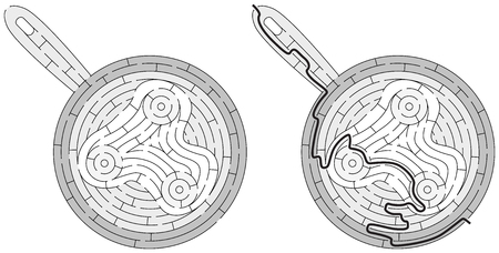 Eggs maze for kids with a solution in black and white Illustration
