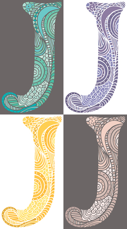 Hand drawn capital letter J in turquoise, purple, yellow and pink