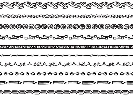 Set of ten illustrated decorative seamless borders made of hand drawn elements in black Illustration