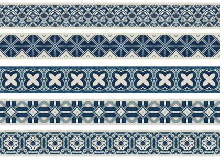 Set of five illustrated decorative borders made of abstract elements in li ght gray and shades of blue