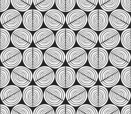 Seamless illustrated pattern made of white semi circles on black