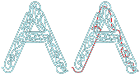 Maze in the shape of capital letter A