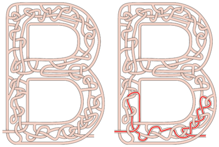 Maze in the shape of capital letter B