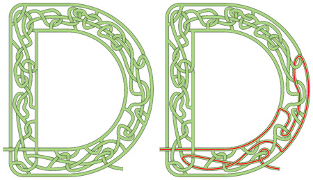 Maze in the shape of capital letter D Иллюстрация
