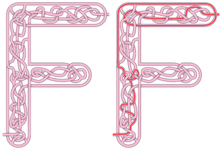 Maze in the shape of capital letter M