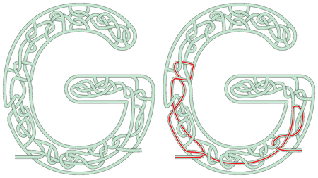 Maze in the shape of capital letter G