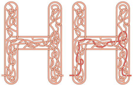 Maze in the shape of capital letter H