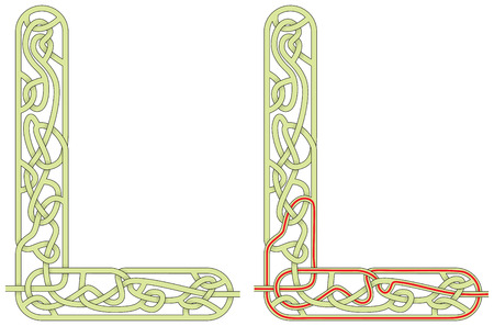 Maze in the shape of capital letter L - worksheet for learning alphabet