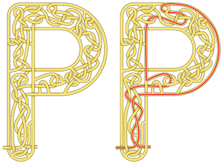 Maze in the shape of capital letter P - worksheet for learning alphabet