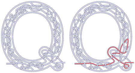 Maze in the shape of capital letter Q - worksheet for learning alphabet