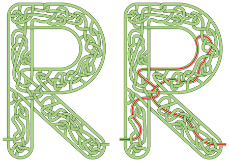 Maze in the shape of capital letter R - worksheet for learning alphabet