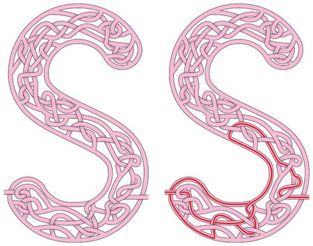 Maze in the shape of capital letter S - worksheet for learning alphabet Çizim