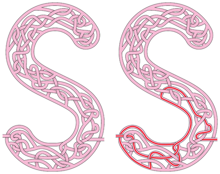 Maze in the shape of capital letter S - worksheet for learning alphabet Illusztráció