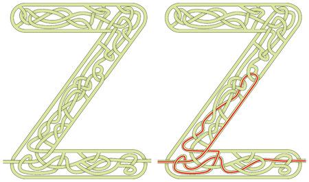 Maze in the shape of capital letter Z - worksheet for learning alphabet