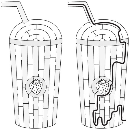 Easy Strawberry milkshake maze for younger kids with a solution in black and white