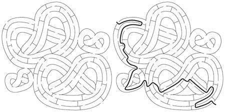 Pretzels maze for kids with a solution in black and white