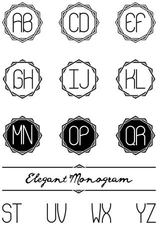 Letters and nine frames to create an elegant two letters monogram.