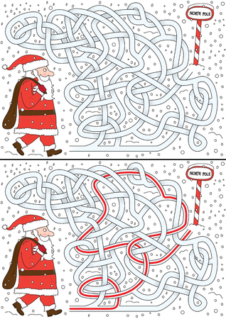 Santa Claus maze for kids with a solution Stock Illustratie