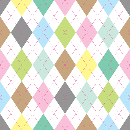 Seamless illustrated argyle pattern in pastel colors Stock Illustratie
