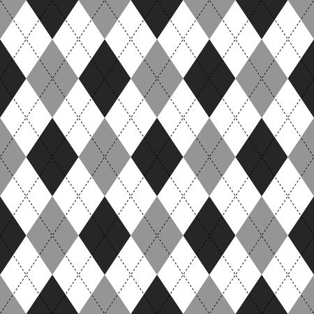 Seamless illustrated argyle pattern in white, grey and black Illustration
