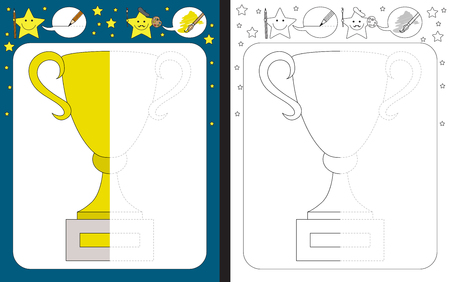 Preschool worksheet for practicing fine motor skills - tracing dashed lines - finish the illustration of gold cup