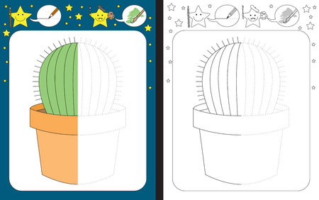 Preschool worksheet for practicing fine motor skills - tracing dashed lines - finish the illustration of a cactus