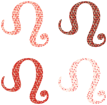 Illustrated leo zodiac sign in red isolated on plain background. 向量圖像