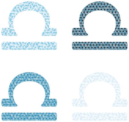 Illustrated libra zodiac sign in blue isolated on plain background. 向量圖像
