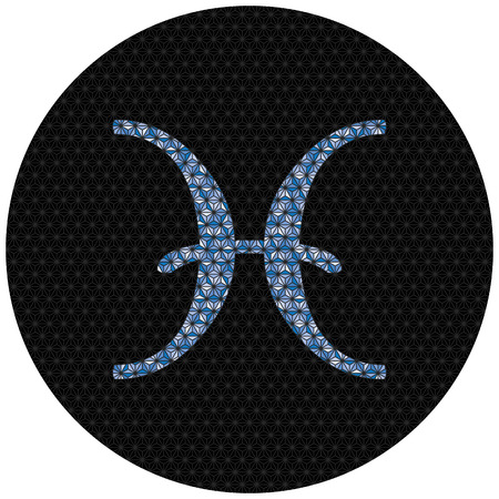 Illustrated Pisces zodiac sign isolated on plain background. 向量圖像