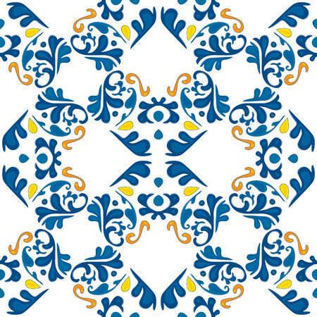 Seamless tile pattern illustration in traditional style. Çizim