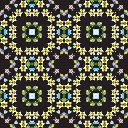 Colorful Seamless pattern vector illustration on dark background.