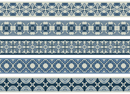 Set of five illustrated decorative borders made of abstract elements in beige and shades of blue