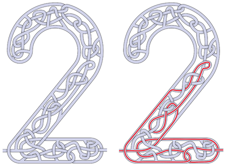 Maze in the shape of number two  worksheet for learning numbers Illusztráció