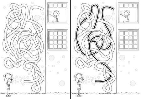 Soap bubbles maze for kids with a solution in black and white  イラスト・ベクター素材