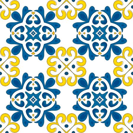 Seamless pattern illustration in traditional style - like Portuguese tiles  Иллюстрация